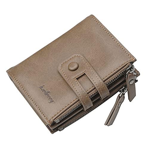 ZSDFW Cartera con múltiples ranuras para tarjetas y compartimentos espaciosos con doble cremallera, gran capacidad, bolsa de mano para mujeres y hombres, color marrón