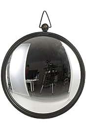 J-line Miroir de sorci/ère Neuf en m/étal Noir Mural bomb/é 39x31cm