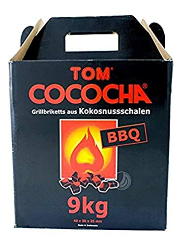 Grillkohle Kokoskohle Kokosschalen Briketts Quader Grillen Shisha Wasserpfeife 9.0kg