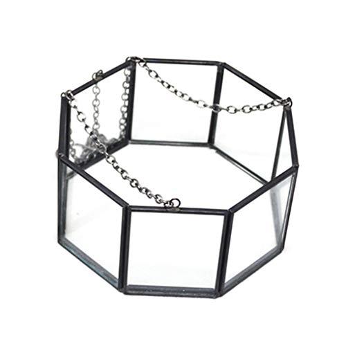 planuuik achteckige geometrische hängende Glasblumenpflanze Vase Terrarium Container Pot Home