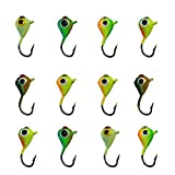 Ice Fishing Jigs Lead Jig Heads Fishing Lure Jigs Winter Metal Lures (0.59inch/0.04oz-12pcs)