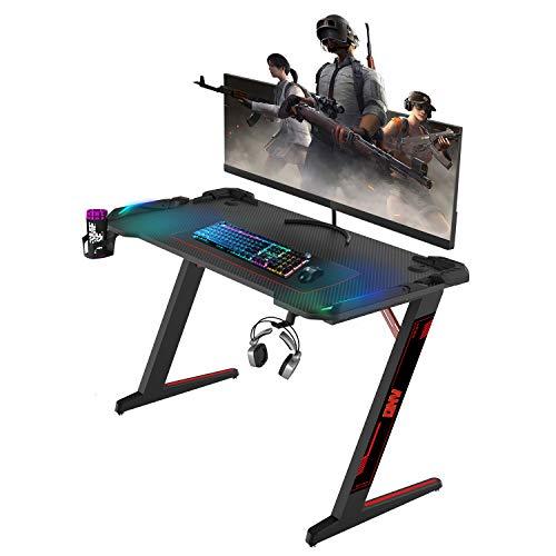 RGB Gaming Desk,ONV Gaming Table,RGB Desk,Premium Gaming Desk with led Lights,pc Computer Desk,Cable Storage,Cup Holder,Headphone Hanger