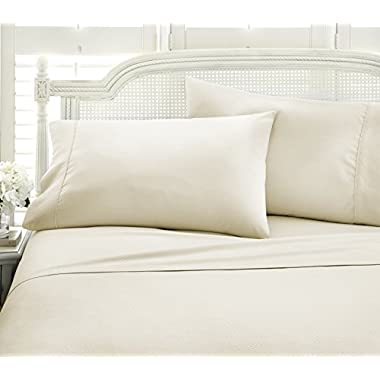 ienjoy Home 4 Piece Embossed Chevron Hotel Quality Ultra Soft Deep Pocket Bed Sheet Set, Queen, Cream