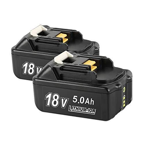 (paquete de 2) Bsioff BL1850B 18V 5.0Ah Batería de repuesto compatible con Makita BL1850B BL1830B BL1840 BL1840B BL1850 BL1850B BL1860B BL1890 BL1815 BL1825 BL1835 BL18 con luz indicadora