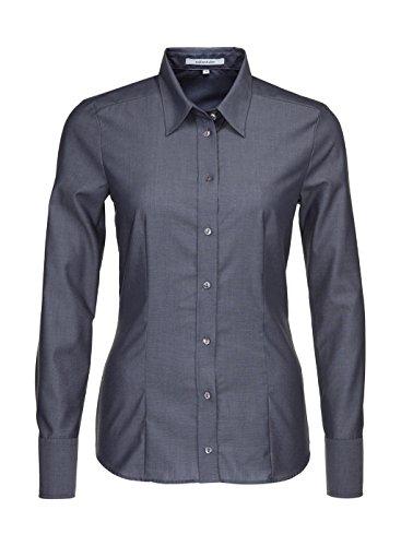 Seidensticker Damen Regular Fit Bluse Hemdbluse Langarm Regular Fit Uni Bügelfrei, Grau (Grau 33), 44 (Herstellergröße: 44)