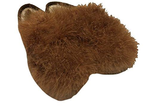 ファー 本革 シューズ 厚底 ダチョウの羽( 23.5cm )オフィースや 室内履きにも フワフワ モフモフで超かわいい (ブラウン)