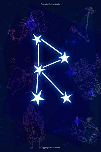 R Monogram Horoscope Journal: InitialA Zodiac, Planner & Journal 2 in 1 constellations on Cosmos Cover with Stars design lined notebook Personalized ... Teens Girls and Kids,  (110 Page, 6x9 Size).