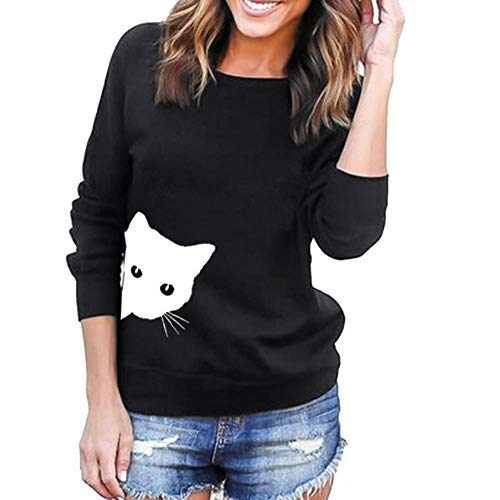 Gbcyp Streetwear overhemden met katten in dames T-shirts lange mouwen kattenprint sweatshirt pullover tops tuniek vrouwelijke streetwear