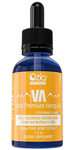 Ozia Originals | VA Premium Hemp Oil with Omega 3,6 & 9 | Elevate Life & Live Peacefully | 250mg Peppermint Flavor - 1 bottle