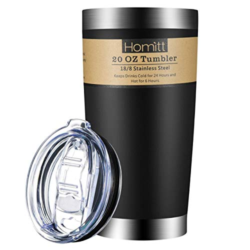 Homitt 20 oz Stainless Steel Tumbler Double Wall Insulated Vacuum Tumbler Powder Coated Tumbler