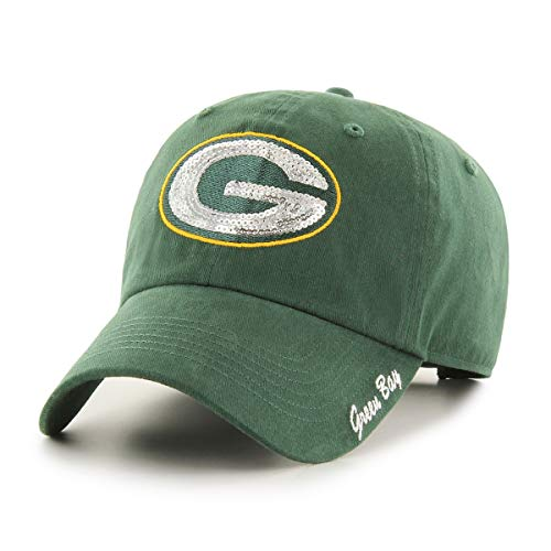 OTS NFL Green Bay Packers Women's Team Color Sparkle Challenger Adjustable Hat, Team Color, Women's