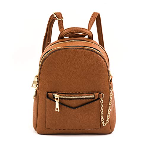 EMPERIA Kayli Faux Leather Small Fashion Casual Daypack Backpack for Women | Convertible Crossbody | TAN
