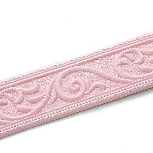 WHK Etiquetas Autoadhesivas de Fondo, Línea de Esquina de rodapié Impermeable Pegatinas Línea de Ajuste de Pared de Espuma(Pink)