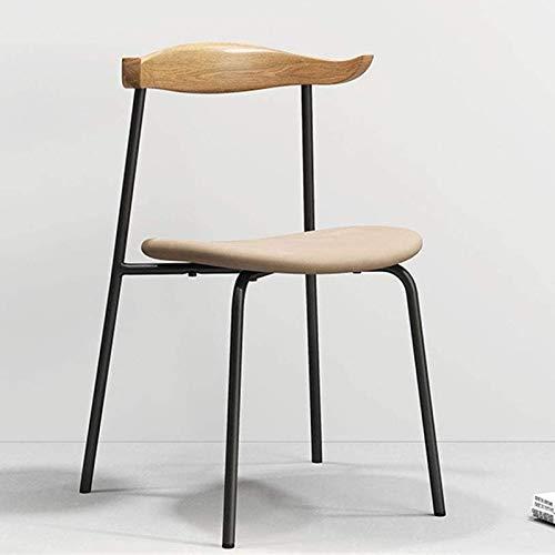 Yuansr Comedor Moderno/sillas de Estar, Marco de Metal de Asiento de Cuero PU y Espalda de Madera, cojín Negro/Blanco, para Cocina, Dormitorio, Sala de Estar (Color : White)