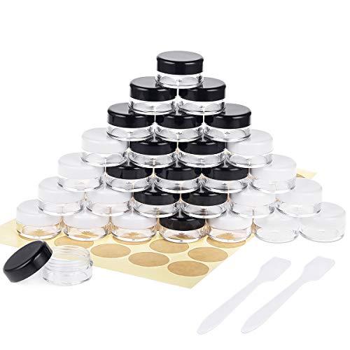 30 Piezas Tarros de Plástico, Contenedores Cosmético de Viaje Envases de Vacío con Tapas para Cosmética Crema Muestra, Polvo, 5g