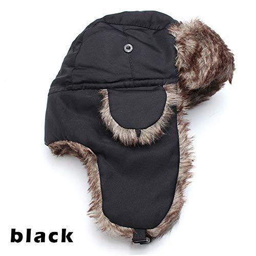Domeilleur - Gorro de esquí Ruso con Orejeras para Aviador Negro Negro