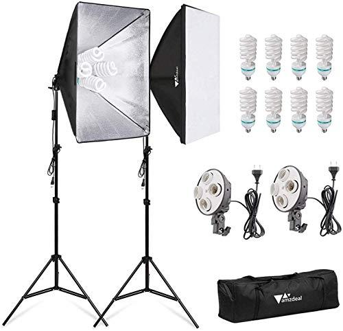 Amzdeal Softbox Kit Fotografía con 8 Bombillas 135W, 2 softboxes, 2 trípodes, Kit de Iluminación Profesional para Estudio Fotográfico, Luz Sufieciente con Bolsa Transporte
