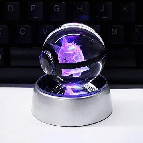 GYBYB 3D Kristallkugel LED Lampe Für Pokemon Serie Pikachuf 5 CM Desktop Dekoration Licht Glaskugel HY-668 @ Gengar