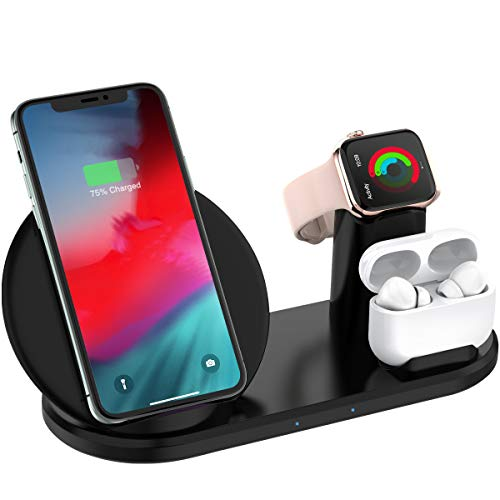 2020年最新Qiワイヤレス充電器 3in1 Apple Watch充電スタンド 【PSE認証済】無線ワイヤレス充電器 ワイヤレスチャージャー iPhone11/11pro/iPhone X/iPhone XS/iPhone XR/iPhone XS Max/iPhone 8/iPhone 8 Plus等、Galaxy S9/S9 Plus/Note9/Note8/S8/S8 Plus対応可 他のQI対応機種 黒