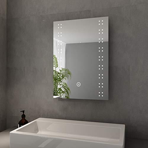 Elegant Badspiegel mit LED-Beleuchtung Lichtspiegel mit Sensor-Schalter 50 x 70 cm kaltweiß IP44 Energiesparend Badezimmer Wandspiegel Beschlagfrei Badezimmerspiegel