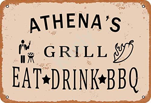 Keely Athena'S Grill Eat Drink BBQ Metall Vintage Blechschild Wanddekoration 12x8 Zoll für Café, Bar, Restaurant, Pubs, Männerhöhle, Dekorativ