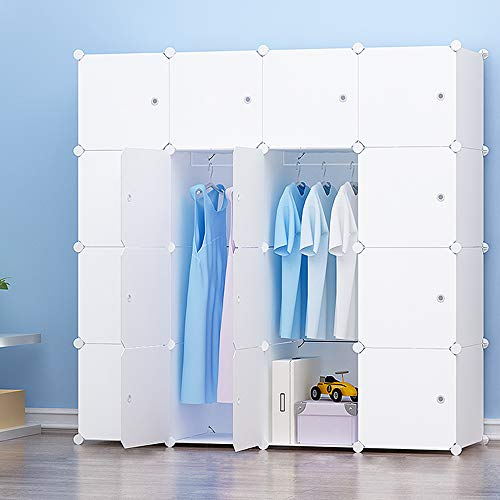 PREMAG Ideal Storage Organizer Cube Closet Portable Wardrobe Combination Armoire, Modular Cabinet for Space Saving, White(16-Cube, Extra Stickers Included)