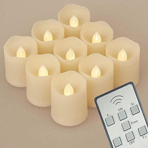 9pcs LED Candles 3 modos Dimmable Tealights LED Votive Velas de Navidad para el árbol de Navidad Decoraciones de Navidad Boda Fiesta de cumpleaños