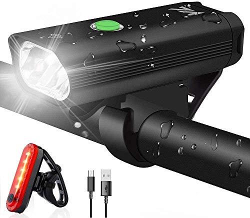 CPZ Juego de Luces de Bicicleta, XPG 400 lúmenes Puerto USB Recargable, batería incorporada 1800mAh, Delantera de la Bicicleta y Las Luces traseras, IPX5 Impermeable, Apto para Todas Las Motos