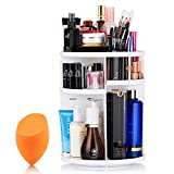 Mokaro 360 Degree Rotating Makeup Organizer for Mothers Day Gifts Extra Large Capacity Adjustable Multifunctional Cosmetic Storage Box for Skin Care Products Makeup Sponges (White)