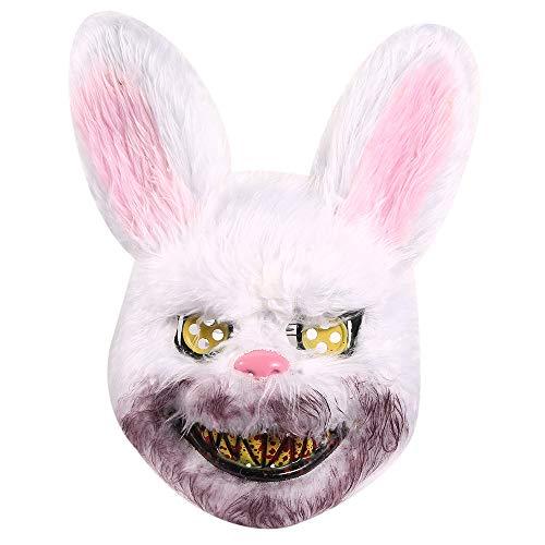 miuline Halloween Terror Hase Maske, Halloween Deko für Party Halloween Fasching Karneval Kostüm Cosplay Dekoration