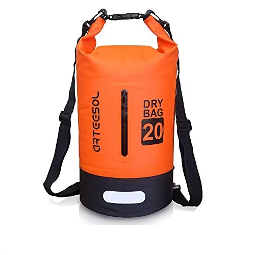 arteesol Sac Etanche 5L/10L/20L/30L Dry Bag avec Double Bandoulière pour la Natation Kayak Pêche Voyager Vélo Plage