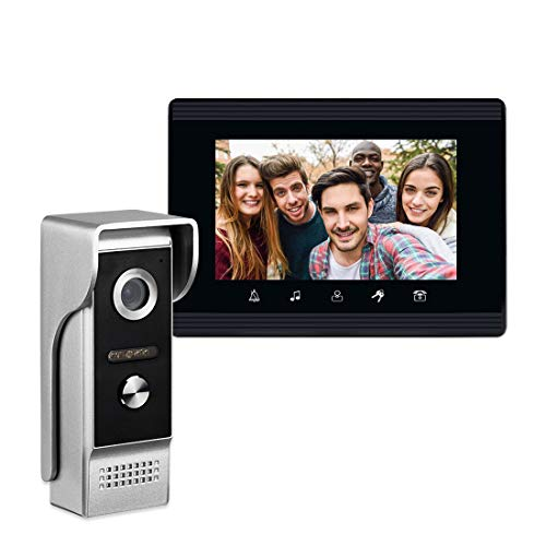 AMOCAM Video Intercom System, 7 Inches Monitor Wired Video Door Phone Doorbell Kits, IR Night Vision Camera Support Unlock, Monitoring, Dual-Way Intercom for Villa House Office Apartment and More