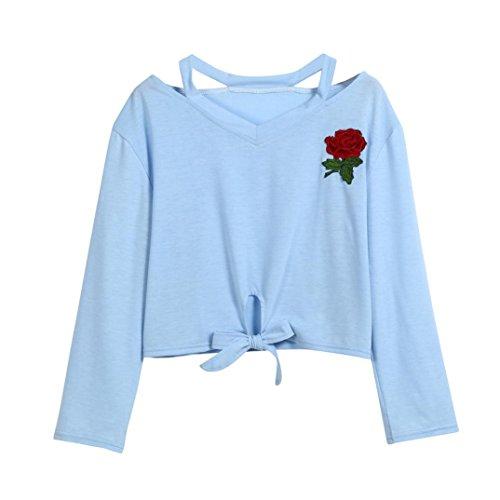 Amlaiworld Sweatshirts Rose Stickerei locker Damen Sweatshirts Blumen kurz Niedlich Sch?ne weich Herbst Langarmshirts (S, A, Blau)