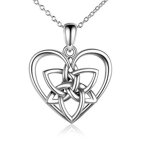 HUKKUN Irish Celtic Love Knot Necklace Sterling Silver Triquetra Irish Celtic Heart Pendant for Women Keepsake Good Luck Vintage Necklace for Women
