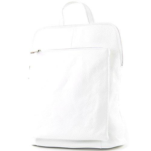 modamoda de - T141 - ital Damen Rucksacktasche 3in1 aus Leder, Farbe:Weiß
