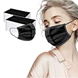 Black Disposable Face_Mask 100pcs Disposable_Masks Breathable 3 Ply Dust Filter with Elastic Ear Loop for Adult Men Women (100 PC- Black #1)