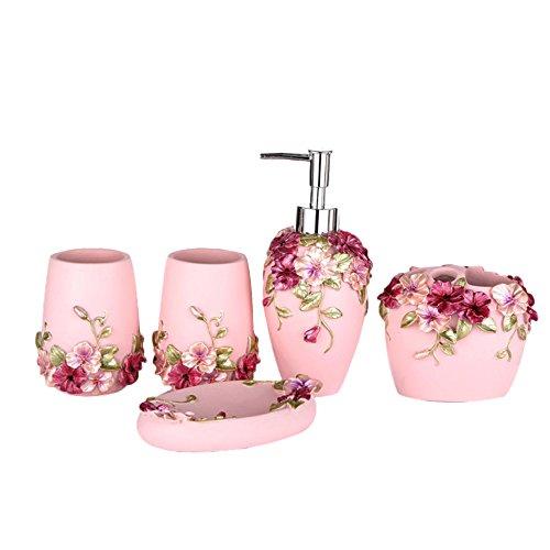 NarwalDate 5PCS Bathroom Accessories Set Soap Dispenser/Toothbrush Holder/Tumbler/Soap Dish (5, Pink)