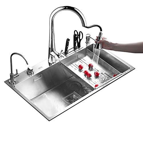 HUSHUN Küchenspülen 304 Edelstahl küche einzigen waschbecken dicke große kapazität waschbecken 3 arten von wasserhahn mit ablauf korb -60 × 45 cm