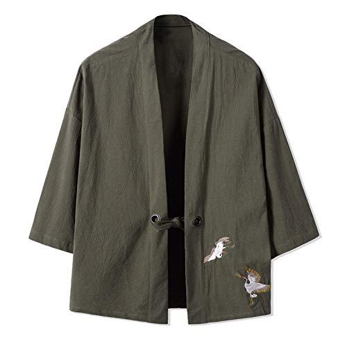 Kimono Cardigan para hombre, bordado japonés masculino Yukata para hombre Haori japonés Samurai ropa tradicional japonesa, verde-M