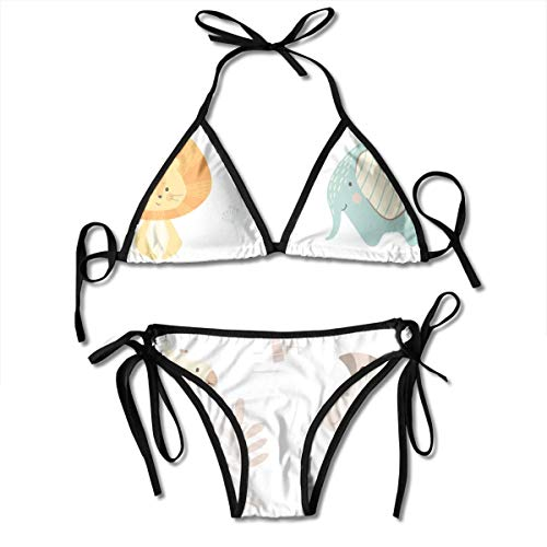 Bikini African Cute Animal Pattern Bikini Set Two Piece,Triangle Padded Cut Out Swimsuit for Ladies Swimming Costume