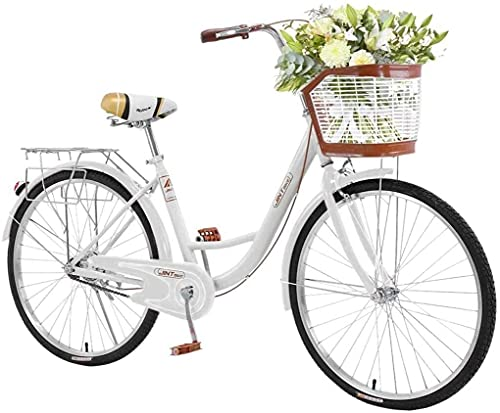 Complete Cruiser Bikes, 26 Inch Beach Bike for Women - Classic Retro Bicycler Bicycle with Baskets & Rear Racks, Comfortable Commuter Bicycle for Leisure Picnics & Shopping (White)