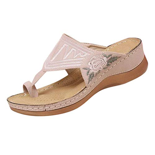 Review Of kaifongfu Women Wedge Slides Sandals Flip Flop Clip Toe Thong Sandals Home Slipper(1-Pink,...