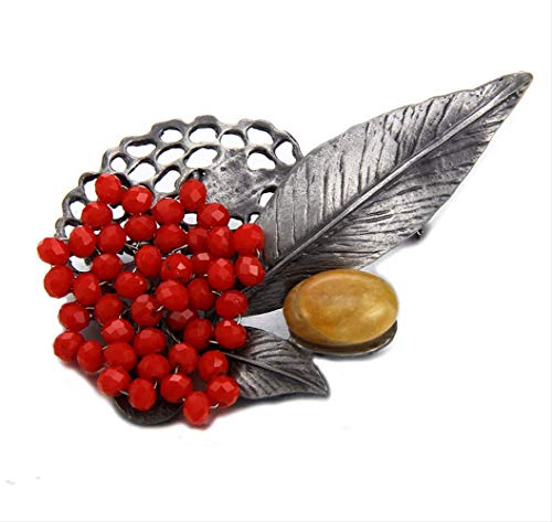 XZFCBH Brosche Retro Schmuck Metall Vintage Blatt Broschen Landhausstil Roten Kristall Perlen Brosche Pins Frauen Anhänger Zubehör Für Frauen Geschenk