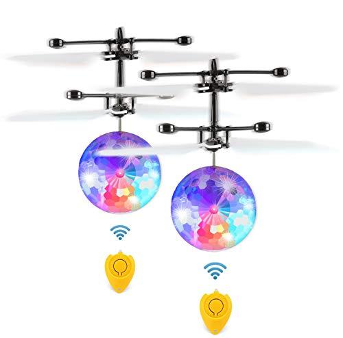 Fansteck 2 Pack RC Fliegender Ball mit Schuzbrille und Fernbedienung, LED RC Flugzeug Helikopter mit Handsensor Infrarot Mini Hubschrauber Fliegendes Spielzeug, Flying Ball für Kinder und Erwachsene