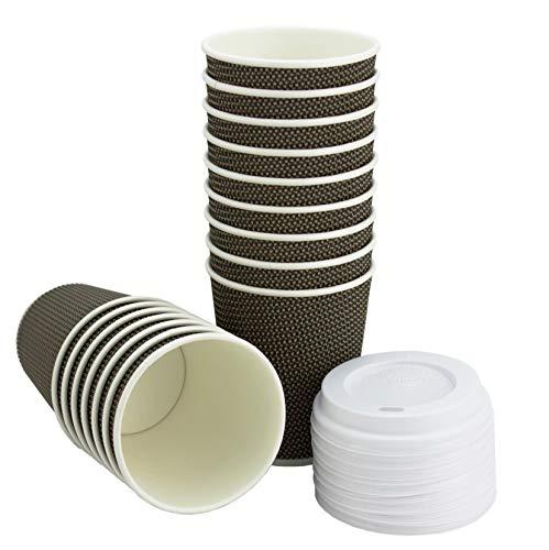 Trinkbecher mit Deckel für Kaffee und Getränke zum Mitnehmen – je 50 Becher und Becherdeckel – Dreifach isolierte Einwegbecher und Weiße Auslaufsichere Deckel – Farbe Braun-Gold