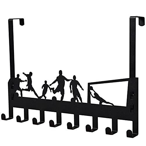 Perchero de Puerta, Percha Puerta para Ganchos con 8 Crochets Puerta 4.5 cm de para Baño, Dormitorio, Cocina, Perchero sin Taladro, Ideal para Abrigos o como Toallero/Negro(Fútbol)