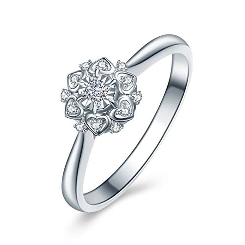 Ubestlove White Gold Rings For Women Links Of London Pave Ring Heart Bouquet 0.03Ct Diamond Ring M 1/2