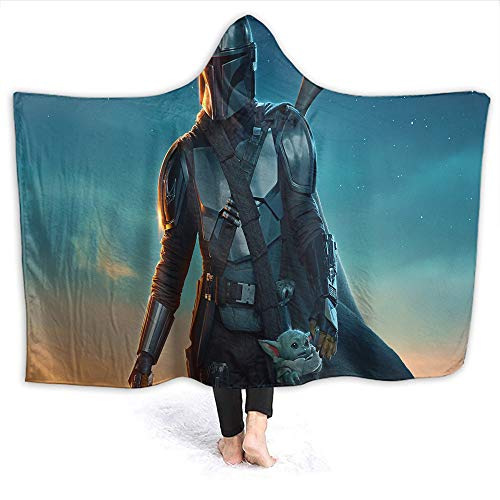 Star Wars Stylish Hooded Blanket The Mandalorian and Baby Yo-da for Adult and Kids Adults Size 80 x 60 Inch