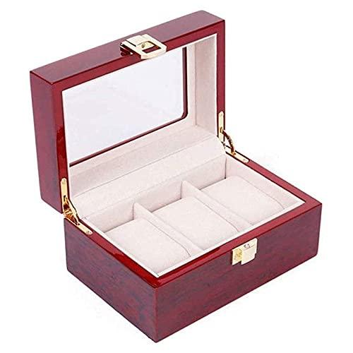 Organizador de caja de joyería Colección de relojes de joyería multifuncional Organizador de caja de almacenamiento para exhibición Vitrina de reloj de madera con tapa de vidrio y cierre de bloqueo