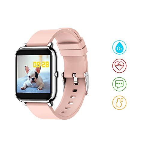 Huyeta smartwatch, Voller Touch Screen Fitness Armbanduhr Smart Watch mit Blutdruck Messgeräte Pulsoximeter Pulsuhren Musiksteuerung Fitness Tracker Schrittzähler Uhr für iOS Android (Pink)